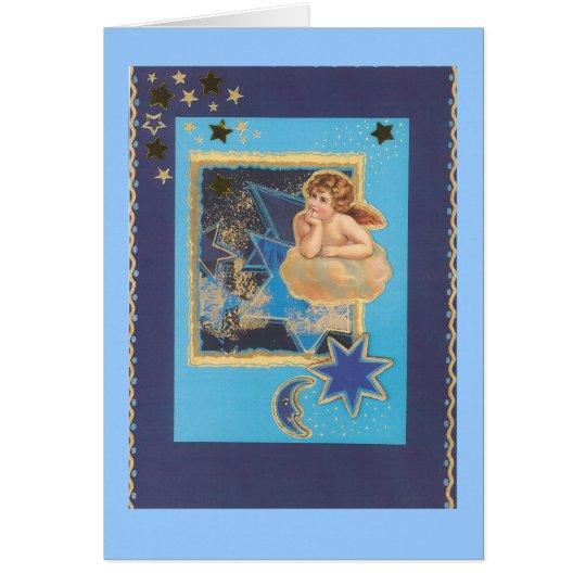 """""""Weihnachts-Engel auf Wolke in Blau"""" Karte"""