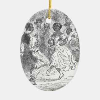 Weihnachtsabends-Festlichkeiten auf einem Ovales Keramik Ornament