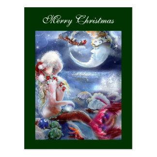 Weihnachtsabends-Postkarte der Meerjungfrau Postkarte