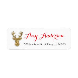 Weihnachtsadressen-Etikett mit GoldGlitzer-Rotwild