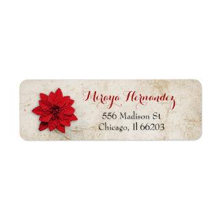 Weihnachtsadressen-Etikett mit roter Poinsettia