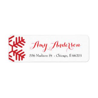 Weihnachtsadressen-Etikett mit roter Schneeflocke