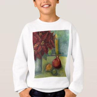 WeihnachtsAquarell-Malereipoinsettia, Kerze Sweatshirt