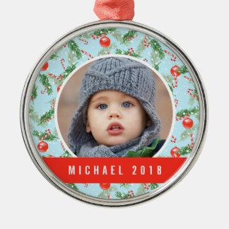 WeihnachtsAquarell-Süßigkeit u. Kiefern-Muster Silbernes Ornament