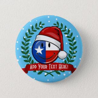 Weihnachtsart-lächelnde Texas-Flagge Runder Button 5,7 Cm