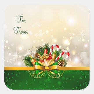 Weihnachtsaufkleber-/-band- und -kiefernkegel quadratischer aufkleber