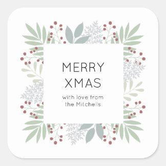Weihnachtsaufkleber - Blätter u. Beeren | Quadrat Quadratischer Aufkleber