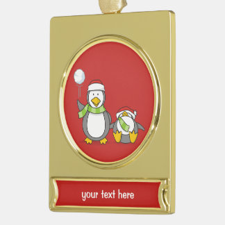 Weihnachtsausweitende Pinguine Banner-Ornament Gold