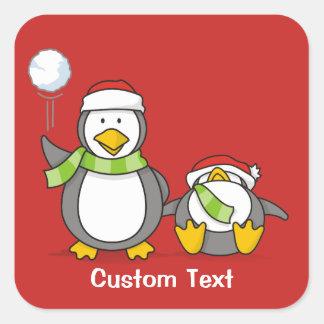Weihnachtsausweitende Pinguine Quadratischer Aufkleber