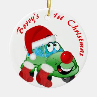 Weihnachtsauto-Cartoon-Feiertags-Verzierung Keramik Ornament