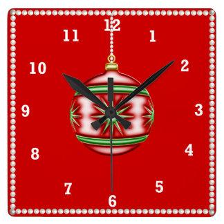 Weihnachtsball #1 quadratische wanduhr