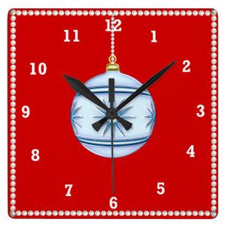 Weihnachtsball #5 quadratische wanduhr