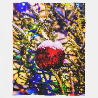 Weihnachtsball-Rot Fleecedecke
