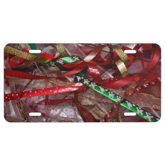 Weihnachtsband-rotes Grün und Goldfeiertag US Nummernschild