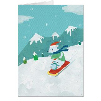 Weihnachtsbär und Pinguin Notecard Karte