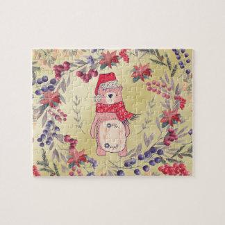 Weihnachtsbärn-Aquarell-Beeren-Gold Puzzle