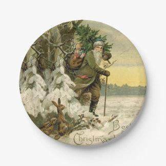 Weihnachtsbaum-Antike Sankt Vintage Pappteller