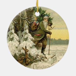 Weihnachtsbaum-Antike Sankt Vintage Rundes Keramik Ornament