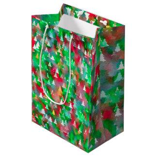 Weihnachtsbaum-Aquarell-Muster Mittlere Geschenktüte