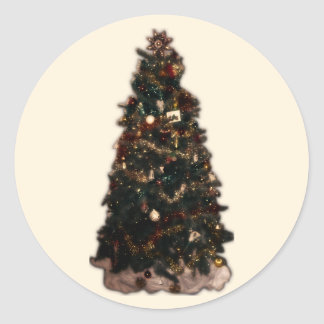 Weihnachtsbaum auf Beige Runder Aufkleber