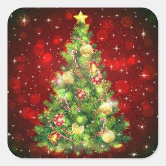 Weihnachtsbaum-Aufkleber Quadratischer Aufkleber