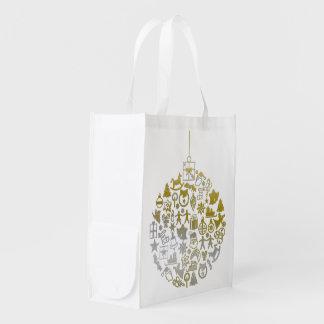 Weihnachtsbaum-Ball-Verzierung + Ihre Ideen Wiederverwendbare Einkaufstasche
