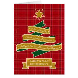 Weihnachtsbaum-Band-rote karierte Karte