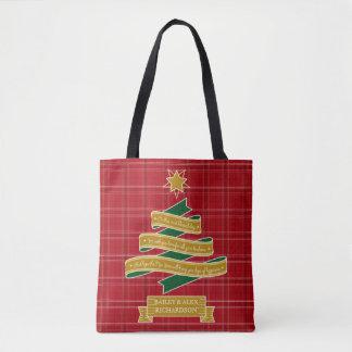 Weihnachtsbaum-Band-rote karierte Tasche