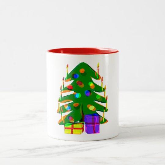 Weihnachtsbaum beleuchtet zweifarbige tasse