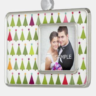 Weihnachtsbaum-Braut und Bräutigam Rahmen-Ornament Silber