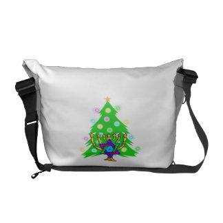Weihnachtsbaum Chanukka Menorah Kurier Tasche