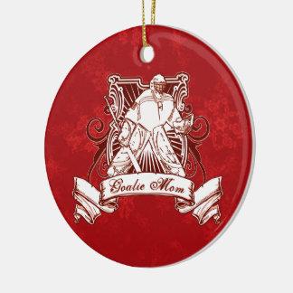Weihnachtsbaum-Dekorations-Hockey-Tormann-Mamma Rundes Keramik Ornament