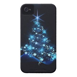 Weihnachtsbaum, der Blau beleuchtet iPhone 4 Hülle
