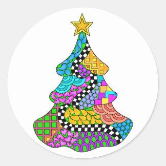 Weihnachtsbaum-Drehung Runder Aufkleber