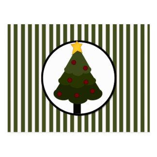 Weihnachtsbaum-Entwurf auf grünen Streifen Postkarte