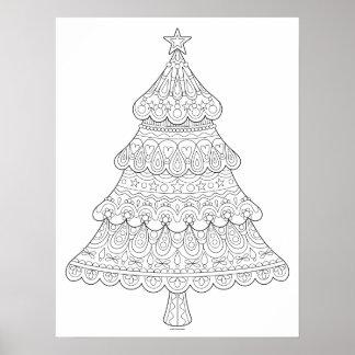 Weihnachtsbaum-Farbton-Plakat - färbbares Plakat
