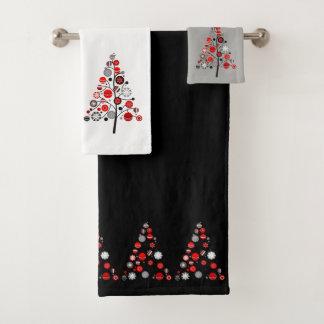 Weihnachtsbaum-Feiertags-Land-Retro rustikales Badhandtuch Set
