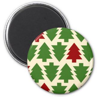 Weihnachtsbaum-Feiertags-Muster Runder Magnet 5,1 Cm