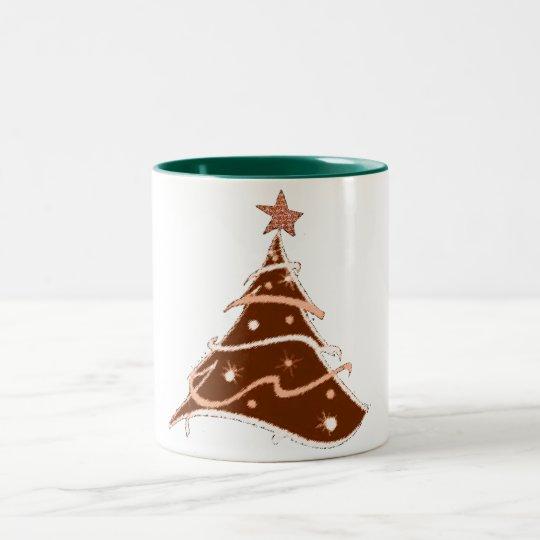 Weihnachtsbaum-Feiertagsentwurfs-Tassenentwurf Zweifarbige Tasse
