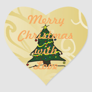 Weihnachtsbaum-Feriengeschenk-Umbauten Herz-Aufkleber