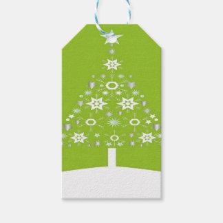 Weihnachtsbaum gemacht von den Schneeflocken auf Geschenkanhänger
