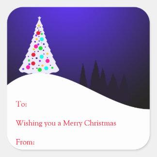 Weihnachtsbaum-Geschenk-Aufkleber Quadratischer Aufkleber