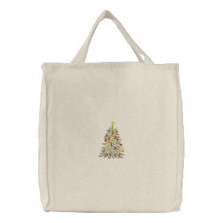 Weihnachtsbaum-gestickte Tasche