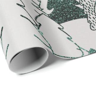 Weihnachtsbaum-Glitzer-Grün-silbernes Grau-Metall Geschenkpapier