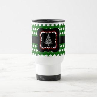 Weihnachtsbaum-Grün-Muster-Reise-Tasse Reisebecher