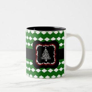 Weihnachtsbaum-Grün-Muster-Tasse Zweifarbige Tasse