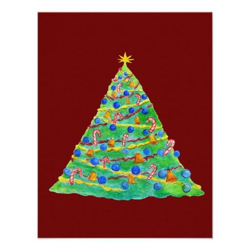 weihnachtsbaum hand gezeichnet und gemalt einladungskarten. Black Bedroom Furniture Sets. Home Design Ideas