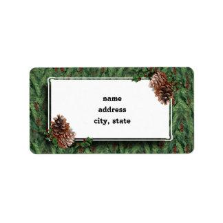 Weihnachtsbaum-Hintergrund w/Tag Adressaufkleber