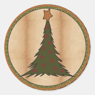 Weihnachtsbaum-Illustration Runder Aufkleber