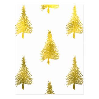 Weihnachtsbaum-Imitat-Goldfolien-Feiertags-Muster Postkarte